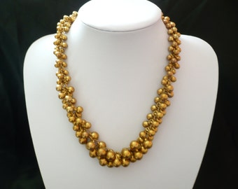 """Vintage ChaCha Necklace Gold Tone Metal Ball Beads Lightweight Cha Cha 20"""" Long"""