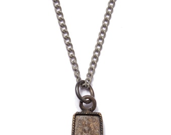 Buddha Necklace. Stone and silver pendant chain necklace for men. Jewelry for guys. Black buddha pendant. Silver chain necklace for men.
