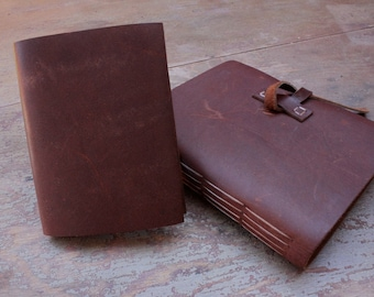Leather Journal Gift Set - Handbound Leather Sketchbook and Matching Pocket Notebook - The Chunkie Lee Journal with Pascale Pocket Notebook