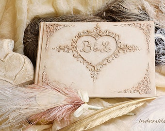 Elegant Ivory Wedding Guest Book, Personalized guest book, Ivory gold guest book, White gold, gold and cream wedding, vintage style wedding