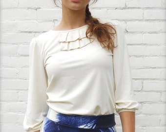 ON SALE! Natural Color Blouse Was 68 dollars Extra long top bishop ruffle ecofriendly bamboo jersey fabric Small Medium