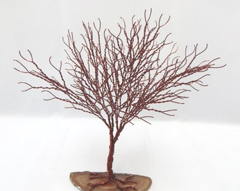 Brown Tree of Life Decor, Wire Tree Sculpture, Brown Bonsai Tree, Tree Wedding Cake Topper, Tree Sculpture Home Decor