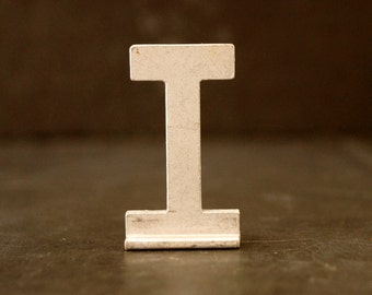 "Vintage Metal Sign Letter ""T"" with Base, 1-13/16 inches tall (c.1950s) - Industrial Decor, Art Supply, Typography"