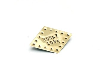 Diamond Shapes 'Bunny Love' Brass Pin Brooch