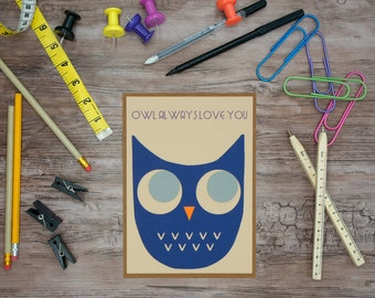 Owl Always Love You-note card greeting card thank you note valentine special occasion i love you thinking of you holiday gift