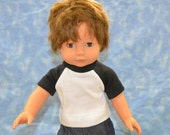 "18"" Boy Doll Clothes - Fits American Doll - Gotz - Black and White T-Shirt - Handmade"