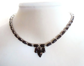 Vintage black crystal necklace 1950's choker rhinestone necklace perfect for a elegant Mad Men cocktail party or vintage bride