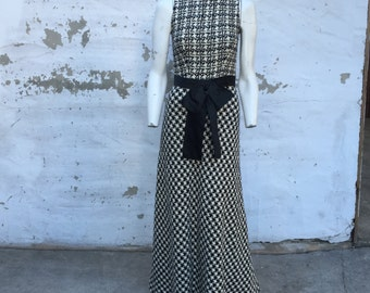 Vintage Wool Houndstooth Rhinestone Dress maxi XS 0 2 black white