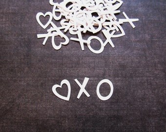 Valentine Party Decor, Heart XO Confetti, Weddings, Showers, White, Love, Set of 100