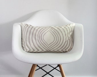 Aya Contour lumbar pillow cover hand printed in metallic blush on white organic hemp cotton