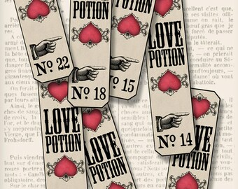 Love Potion Apothecary Bottle Labels Valentine Test Tube Labels digital download instant download Digital Collage Sheet - VDAPVA1293