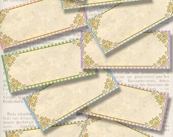 Vintage Blank Labels printable add text paper crafting crafts organizing color instant digital download digital collage sheet - VDLAVI1362