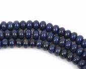 8mm LAPIS LAZULI Rondelle Beads, Smooth Gemstone Beads, full strand, 74 beads per strand, gla0012