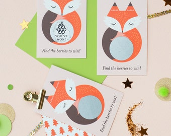 Woodland Fox Scratch Off Cards - Baby Shower Game (24 Cards)