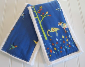 CLEARANCE/Burp Cloths/Set of Two/Origami Oasis/100% Cotton