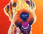 Airedoodle, Pet Portrait, DawgArt, Dog Art, Pet Portrait Artist, Colorful Pet Portrait, Airedale Art, Art Prints, Airedale, Poodle