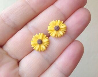 Sunflower earrings sunflower studs flower studs sunflower jewelry Stud earrings Yellow studs yellow earring set of 3 4 5 6 7 8 9 yellow post