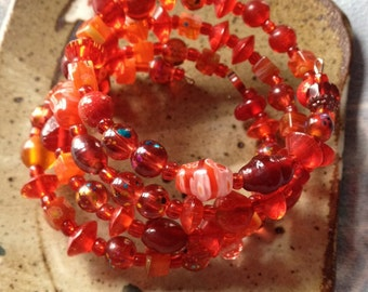 Red beaded wire wrap bracelet, one wrap, glass bracelet