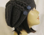 "Slouch, beanie, cap, hat, hand crochet in the color dark grey with buttons, unisex fits teens and adults 20""-23"""