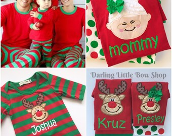 Christmas Pajamas -- Family pajamas - Santa, Reindeer or Gingerbread applique - Adult, infant and childrens sizes