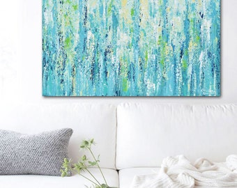 GICLEE PRINT Art Abstract Painting Blue Aqua Ombre Canvas Print Wall Art Wall Decor Modern Palette Knife Coastal Beach Select SIZE Christine