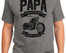 Papa Tough & Durable Classic Motorcycle Men's T-shirt Short Sleeve 100% Cotton S-2XL Great Gift (T-DA-26)