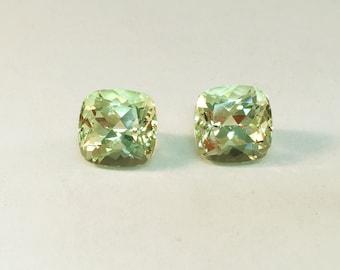 Light Canary Yellow Beryl Cushion Pair, Champagne diamond alternative, Large earrings
