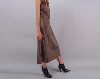 Vintage 60s Mod Dress, A-Line Dress, Striped Silk Dress, Minimalist Dress, Tank Dress, Midi Dress Δ size: sm