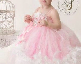 Flower Girl Dress, tutu dress, custom made to order couture tutu dresses, feather tutu dress