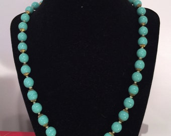 Vintage Summer Turquoise Ceramic Beaded Necklace