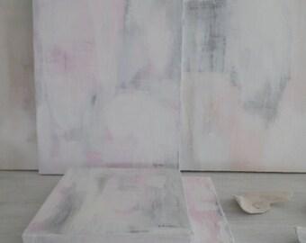 WHITE SEASHELLS Blanc Collection Original Painting 11 x 14 Canvas French Nordic Shabby Chic Bohemian Zen Coastal Seawashed Living