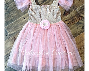 Pink and Gold Christmas Dress, Pink and Gold Holiday Dress, Pink & Gold Sequin Party Dress, Pink and Gold 1st Birthday Dress, Gold Dress