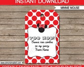 Red Minnie Mouse Favor Tags - Thank You Tags - Birthday Party Favors - INSTANT DOWNLOAD with EDITABLE text - you personalize at home