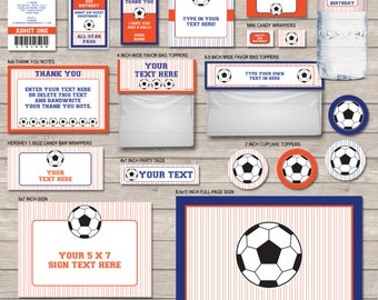 Printable Soccer Package - Dark Blue and Orange - full party kit - INSTANT DOWNLOAD with EDITABLE text - you personalize at home