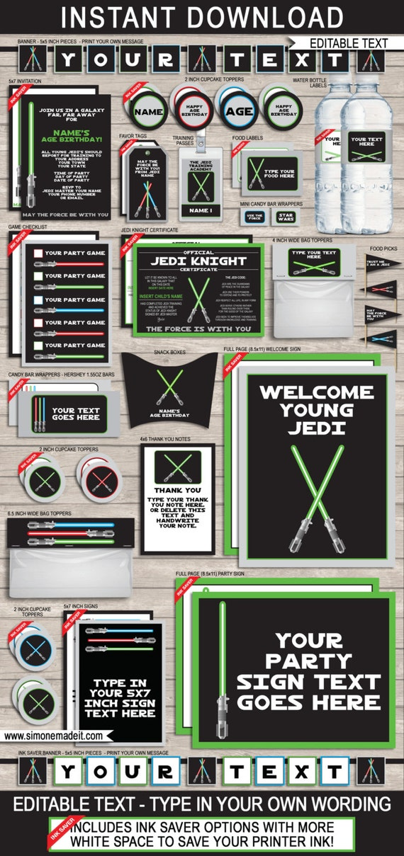 star wars invitations decorations full printable package birthday party instant download. Black Bedroom Furniture Sets. Home Design Ideas