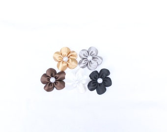 Neutral Collection - Set of 5 Mini Flower Hair Clips - Neutrals Colors Hair Flowers