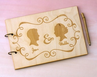 Rustic Personalized Silhouette Wedding Guest Book - Customized with YOUR OWN Silhouettes