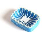 Blue Plastic Soap Dish 1950s Bathroom 1960s Kitchen 2-Piece Soap Dishes