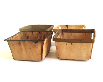 Wood Strawberry Baskets & Keyes Fibre Co Paper Pulp Basket, Quart Berry Containers Boxes Crates, (used, as-is)