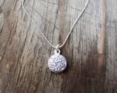 Druzy Necklace, tiny silver druzy pendant, small and simple, round druzy jewelry