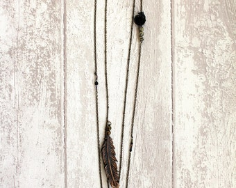 Vintage Leather Feather Necklace Black Rose