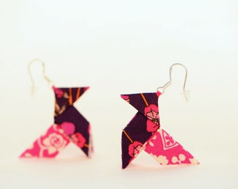 Hot pink Liberty origami earrings - sterling silver hooks