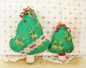 """Christmas Tree Ornament Set of 2 Fabric Trees 5"""" and  3"""" Free Standing Candy Cane Print Tree Ornaments Christmas Home Decor CharlotteStyle"""