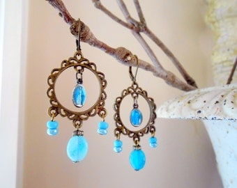 Miraculous Medal Earrings, Assemblage, Blue Enamel, Religious Medals, Hemimorphite, Boho, Bomeian,  Repurposed Vintage, Upcycled, Recycled