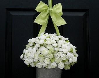 Door Wreath Alternative - White Wreath - All Season Wreath - Flower Pail
