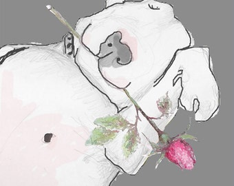irresistible Bull Terrier with Rosebud Birthday card