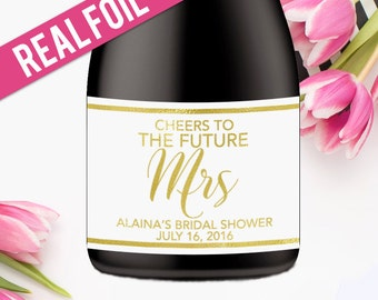 Bridal Shower Champagne Labels - Cheers Wedding Wine Labels- Bridal Shower Favor - Custom Wine Label - Wedding Stickers - Gold Foil (CH-F24)