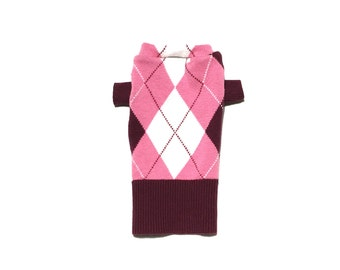 XX Small Soft Maroon, Pink and White Argyle Designer Dog Sweater, Chihuahua, Maltese Handmade Pet Apparel, Girl and Boy Dog Clothes 0340