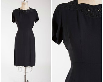 Vintage 1950s Dress • Long Winters • Black Rayon 50s Cocktail Dress with Rhinestone Lace Detail Size Medium