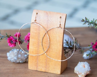 LUNA Hoop Earrings - 14K Gold Filled, Hammered Earring, Bohemian Boho Wanderlust, Moon Child, Round Unique Gift, Christmas, Her, Universe